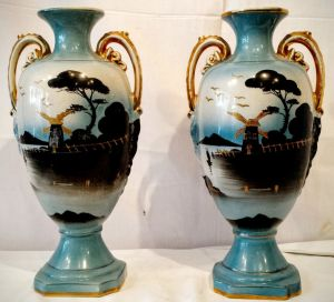 A Pair Of Colourful Victorian Fairground Vases