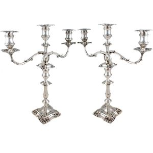 Pair Of Three Branch Candelabra