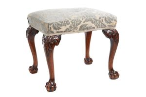 Finely Carved Antique Walnut Claw & Ball Stool C.1880