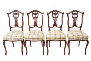Quality Set Of 4 Carved Mahogany Dining Chairs C.1870