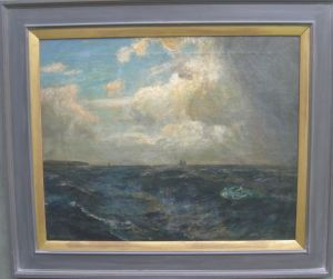 Julius Olsson R.a. (1864-1942) 'off The Lizard' Cornwall Oil Circa 1930's