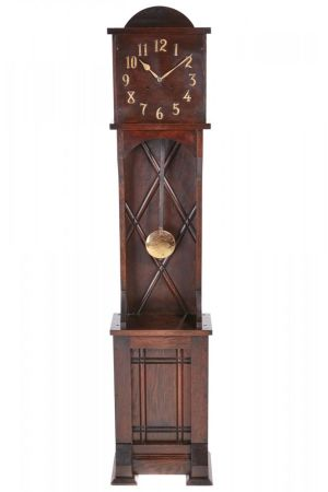 Unusual Art Deco 8 Day Oak Longcase Clock C. 1920