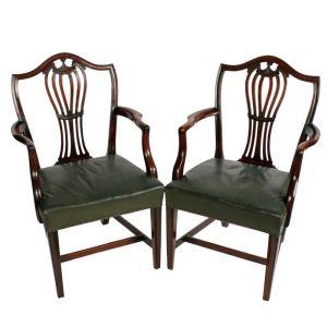 Pair Of Antique Georgian Hepplewhite Arm Chairs