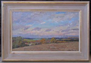 Framed Oil On Board Summer Landscape By Unknown Russian Artist