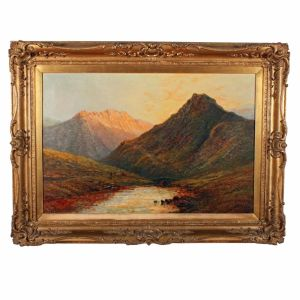 "Antique Painting On Canvas ""in The Trossachs"""