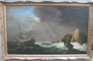 18thc Old Master Oil Peter Monamy 'ships In Distress' C1750