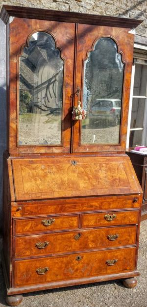 Queen Anne Walnut Bureau Bookcase With Original Mirror Doors, A Well, Candle Slides And Bun Feet