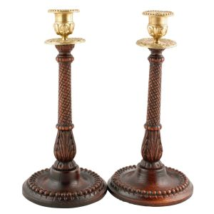 Antique Oak Candlesticks