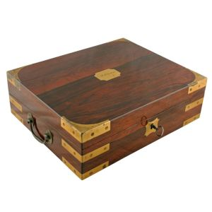 Brass Bound Rosewood Box Desk