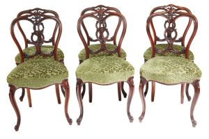 Set Of 6 Victorian Walnut Antique Dining Chairs