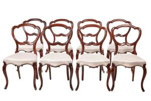 Fine Set Of 8 Victorian Rosewood Dining Chairs C.1850