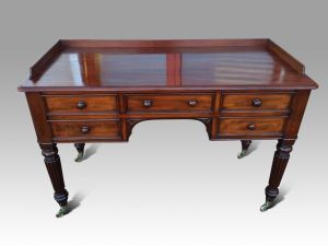 Superb Regency Mahogany Dressing Or  Writing Table Attributed To Gillows & Stamped By M Wilson 68 Great Queen Street. London