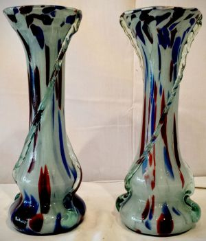 A Pair Of 1920's Murano Glass Vases