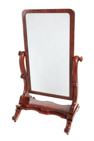 Attractive Antique Mahogany Cheval Mirror C.1860