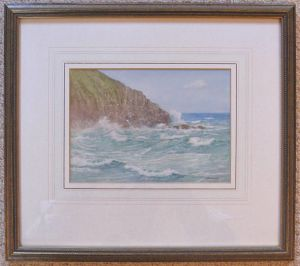Original Miniature Watercolour, Breaker & Spray By H H Bingley