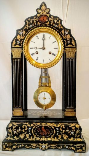 19th Century French Ebonised Bouille Portico Clock, 8 Day Parisian Striking Movement