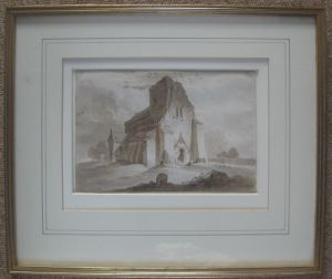 Thomas Tudor (1785-1855) 'landscape With A Ruined Church' Ink Drawing C1830.