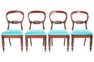 Set Of 4 Victorian Mahogany Balloon Back Dining Chairs C. 1860
