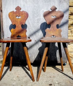 A Pair Of Early Austrian Ash Tyrolean Chairs