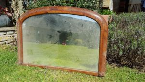 Arched Inlaid Walnut Over Mantle Mirror