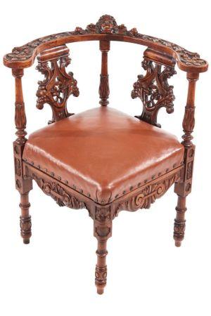 Fine Carved Walnut Corner Chair