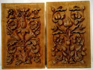 A Pair Of Carved Walnut Panels By Apprentice James Bescher 1880