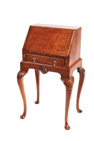 Attractive Queen Anne Style Burr Walnut Bureau