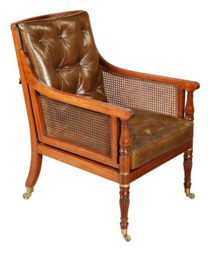 Mahogany Campaign Bergere Chair.