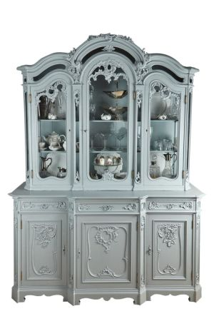 Large French Carved & Painted Display Cabinet