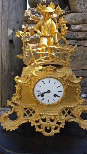 French Parisian Gilded Ormolu 8 Day Clock With Original Stand And Glass Dome