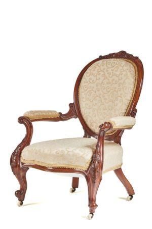 Fine Victorian Carved Walnut Armchair