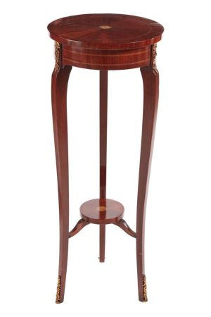 Antique French Rosewood Inlaid Torchiere/plant Stand