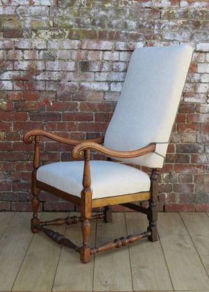 Antique Re-upholstered English Walnut Armchair