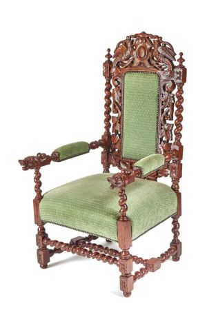 Carved Oak Baronial Throne Chair C.1880