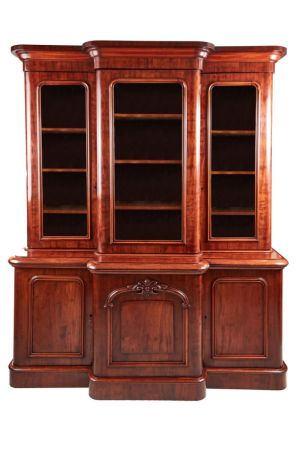 Super Quality Victorian Mahogany Breakfront Bookcase C.1860