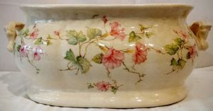 Victorian Foot Bath With Decorative Floral Painting