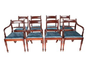 Set Of 8 Regency Mahogany Dining Chairs