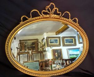 Rippon 'oval Top' Antique Gilt Mirror