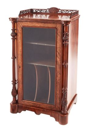 Good Quality Victorian Inlaid Burr Walnut Music Cabinet