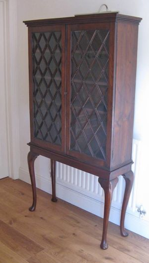 19th Century Astragal Glazed Solid Yew Cabinet On Associated Stand