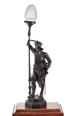 A Large Victorian Spelter Lamp