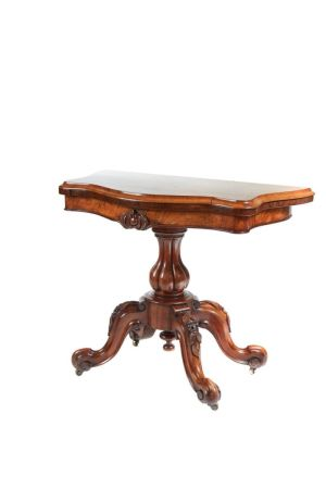Victorian Burr Walnut Card Table C.1850