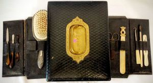 Edwardian Gentleman's Leather Travelling Box With Original Contents