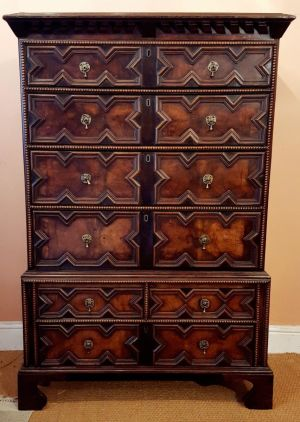 17th Century Oak And Walnut Geometric Chest On Chest