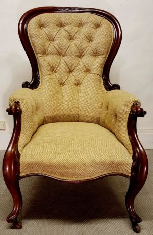 Victorian Mahogany Upholstered Armchair William Iv