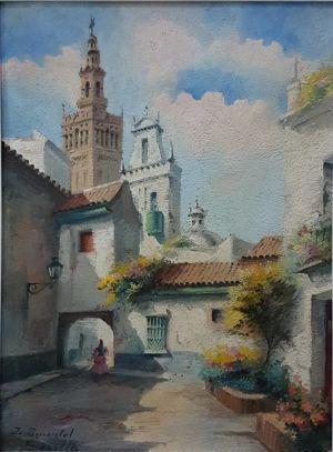 """Oil On Board """"santa Marta Square, Sevilla"""""""