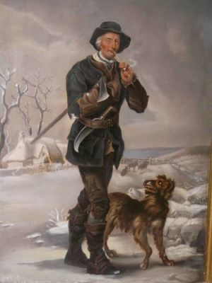 """forester And His Dog In A Wintery Scene"" - 18th/19th Century Painting."
