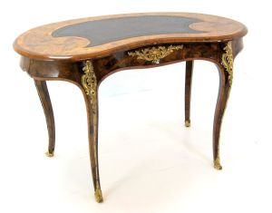 Superb Victorian Burr Walnut Ormolu Mounted Desk