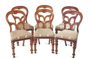 Outstanding Set Of 6 Mahogany Balloon Back Chairs C.1860
