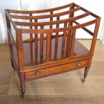 Regency Mahogany Canterbury On Ring-turned Legs & Brass Casters
